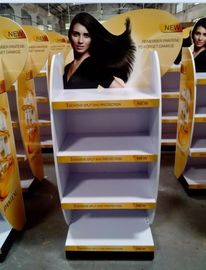 China Wood flooring movable hair care shampoo display stand fournisseur